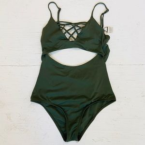L Space Olive Green Monokini with Strap Detail, S